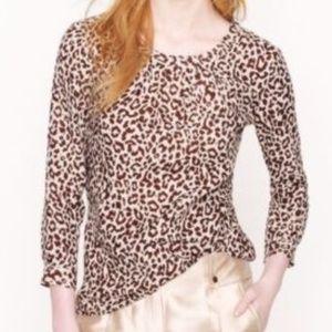 J.Crew Linen Leopard Print Shirt